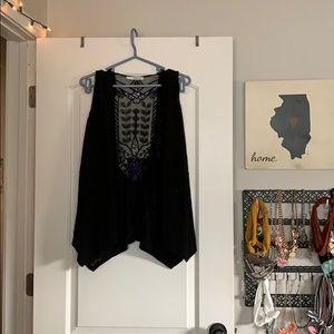 Maurices black lace vest/cardigan